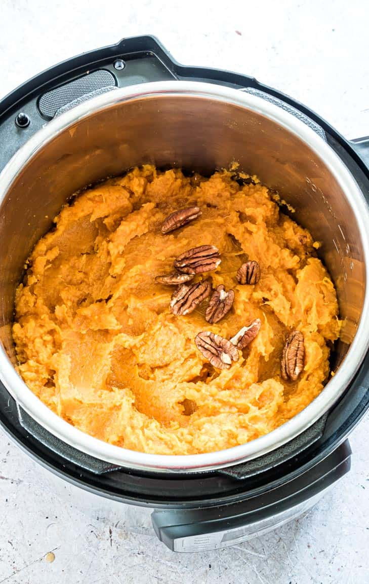 completed sweet potatoes mash inside the instant pot
