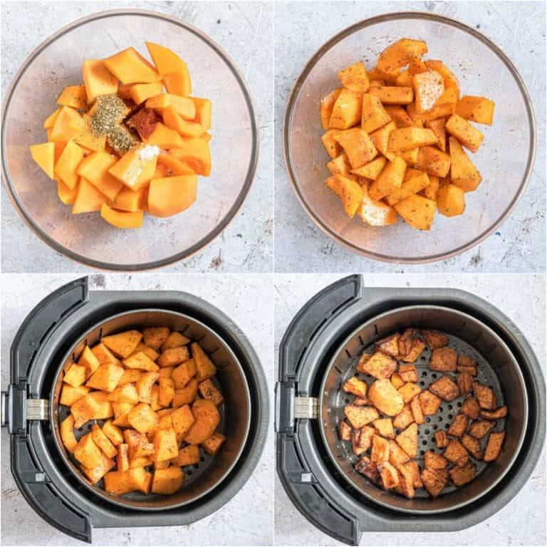 image collage showing the steps for making air fryer butternut squash fries
