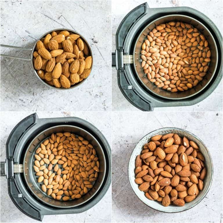 image collage showing the steps for making air fryer roasted almonds