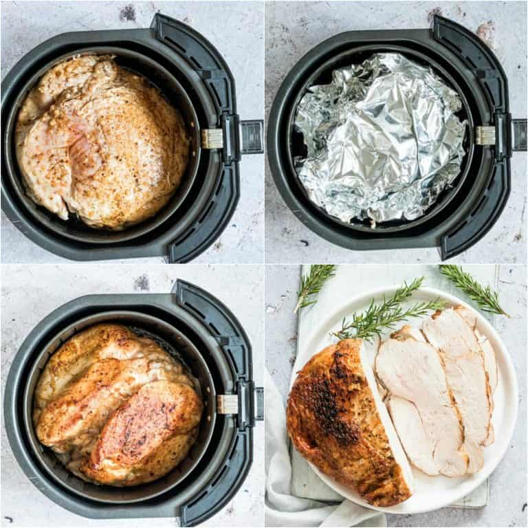 image collage showing the last steps for making air fryer turkey breast