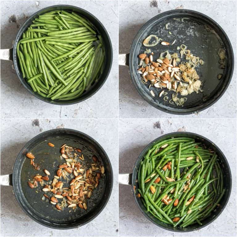 image collage showing the steps for making green beans almondine