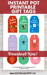 set of 9 instant pot gift tags