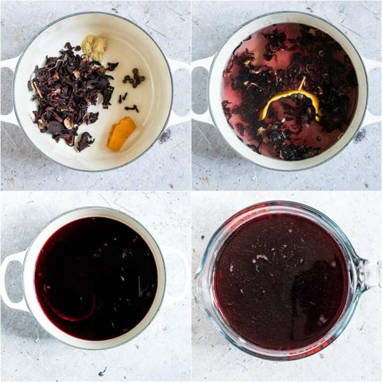 image collage showing the steps for making Jamaican sorrel drink