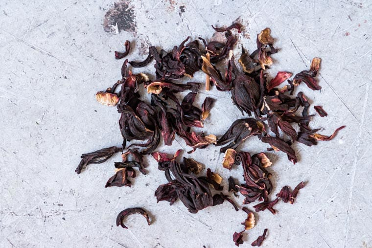 pieces of dried hibiscus used for making Jamaican Sorrel Drink.