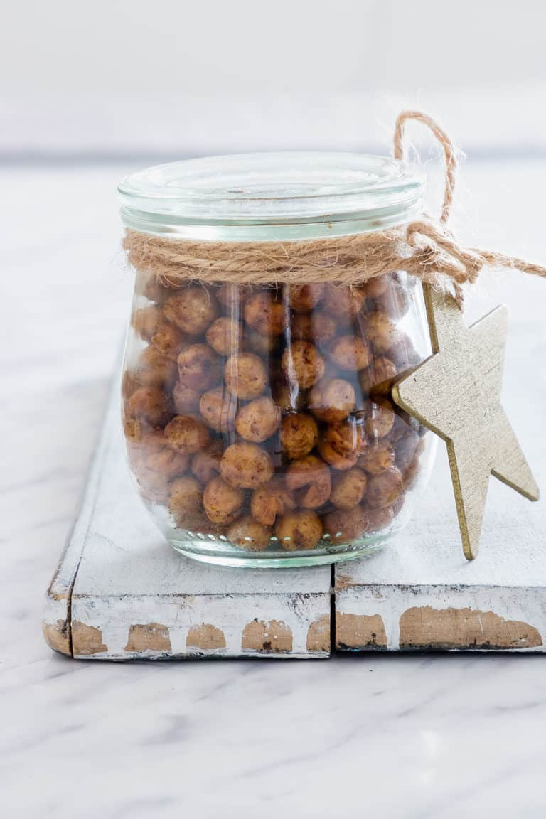 Close Up of Air Fryer Chickpeas in a mason jar