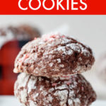 a vertical stack of chocolate crinkle cookies