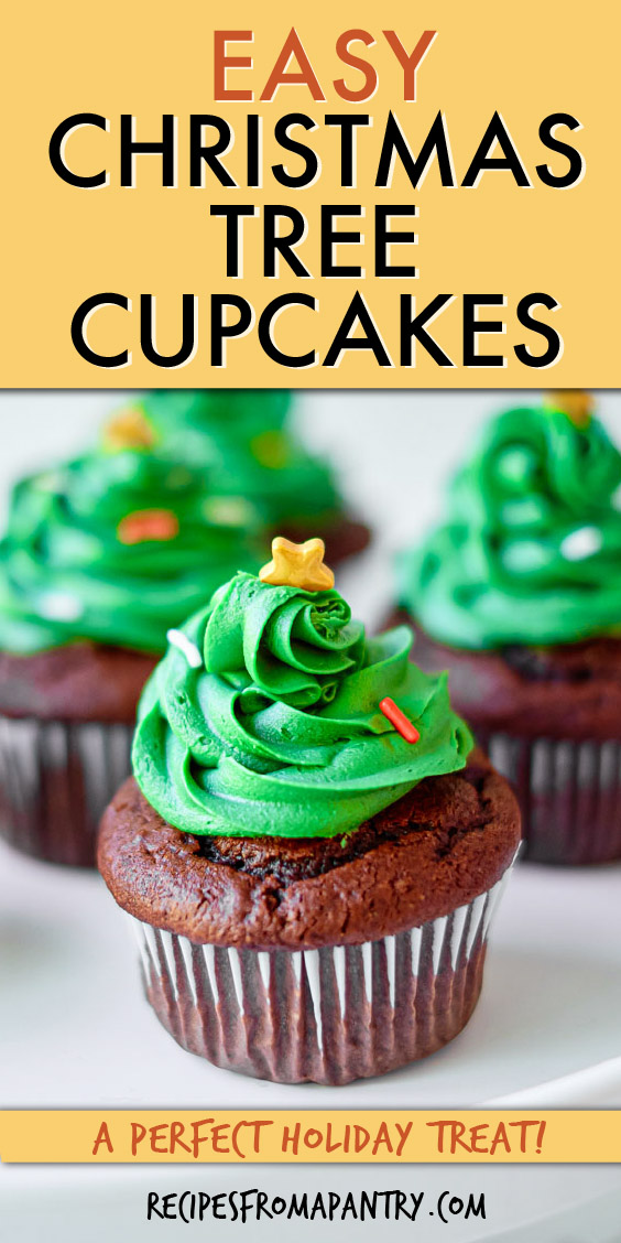 A chocolate cupcake with green frosting