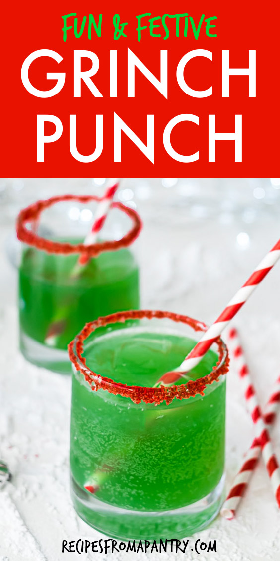 two glasses of grinch punch with red and white striped straws