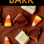 close up of chocolate bark with halloween candies