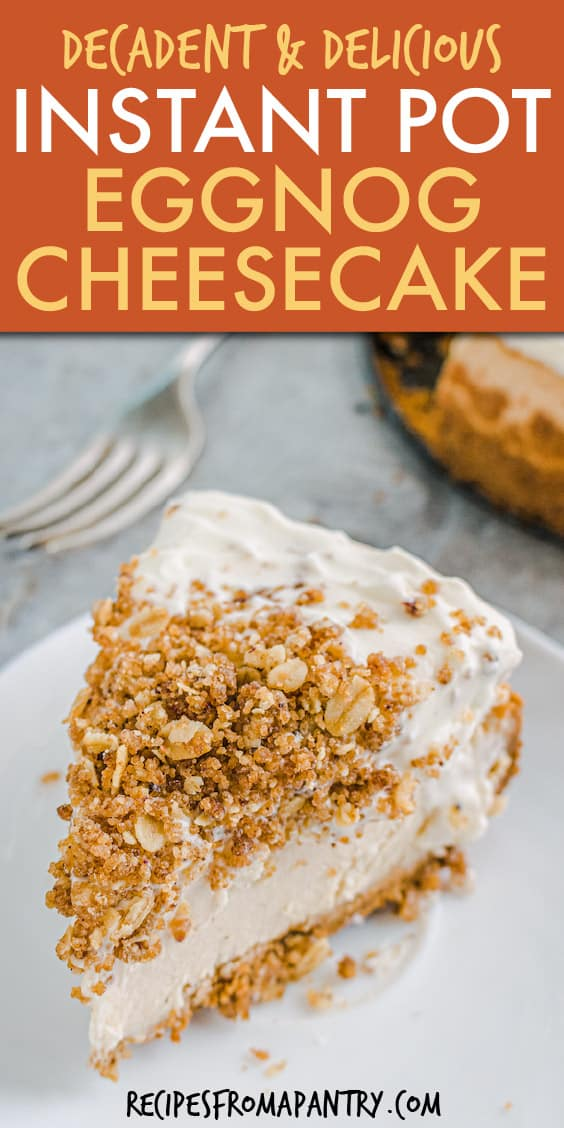 a slice of cheesecake with crumb topping