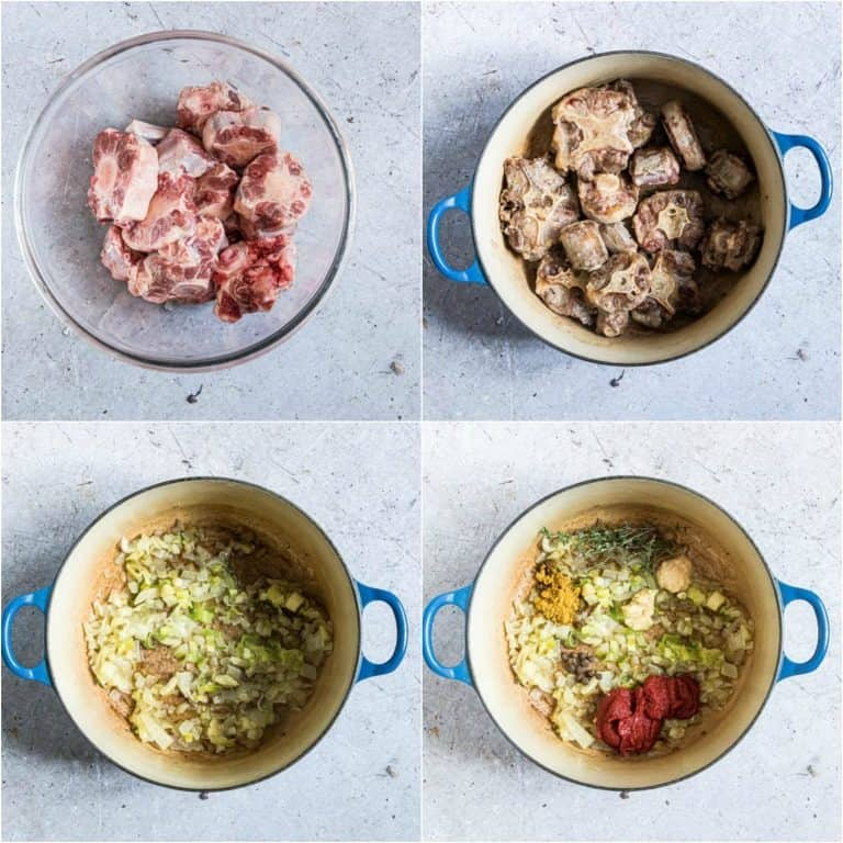image collage showing the first four steps for making Jamaican oxtails