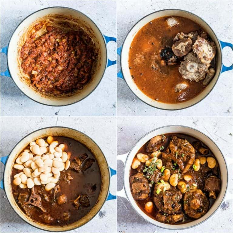 image collage showing the last steps for making Jamaican oxtail stew.