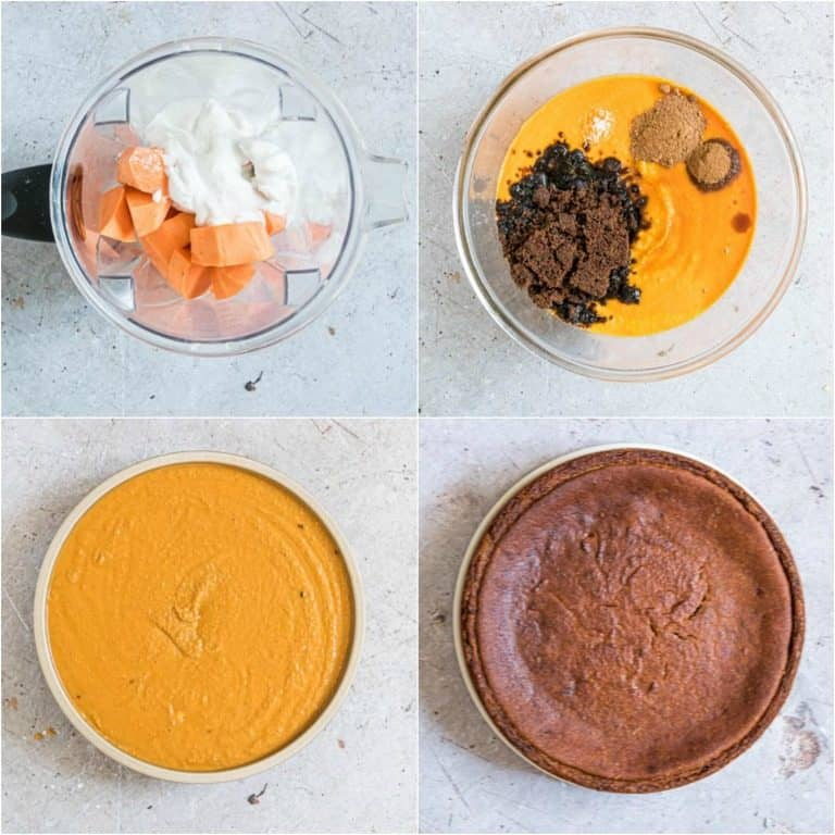 image collage showing the steps for making Jamaican Sweet Potato Pudding