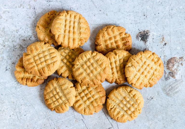 keto peanut butter cookies in landscape