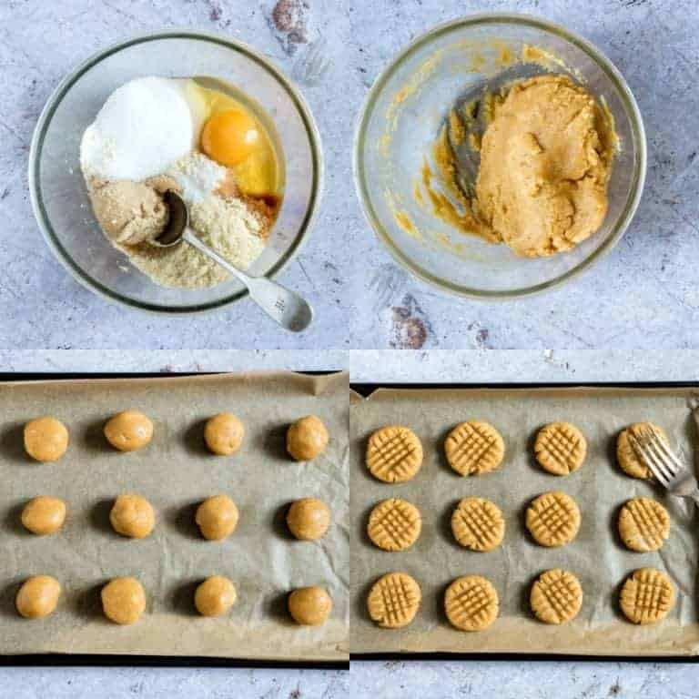collage showing making low carb peanut butter cookies