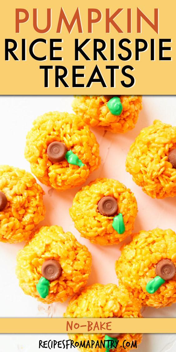 horizontal rows of pumpkin shaped rice krispies treats