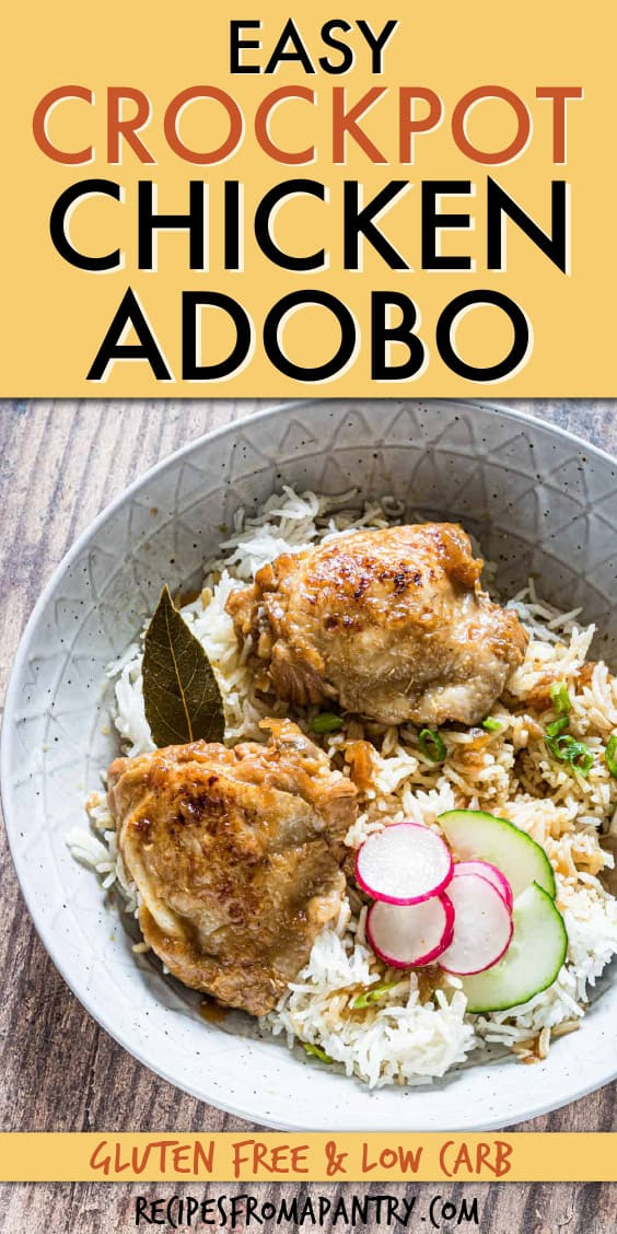 CHICKEN ADOBO OVER RICE IN A BOWL