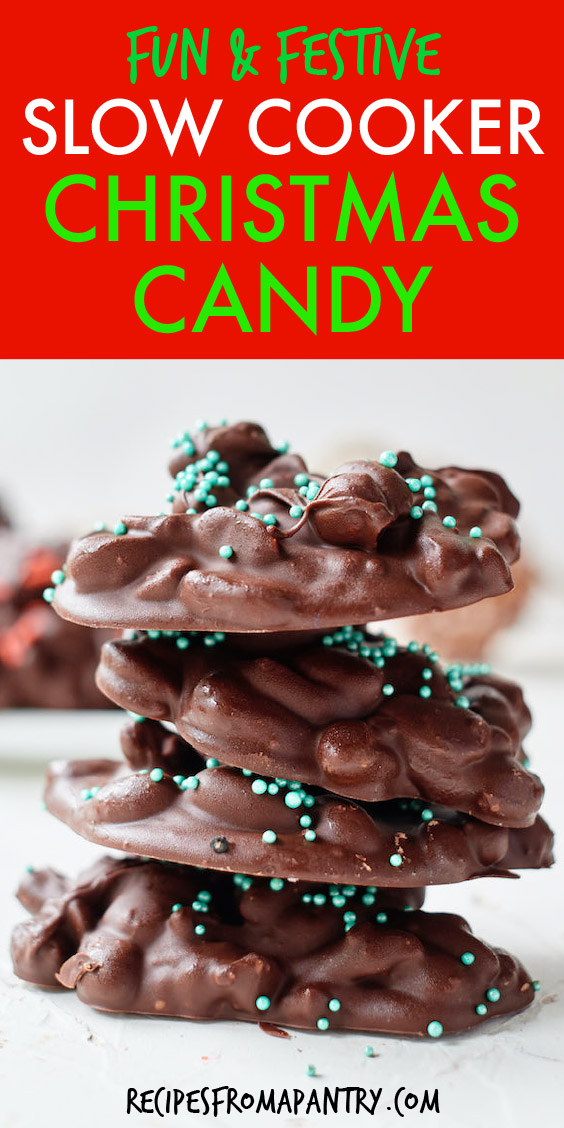 a vertical stack of four chocolate christmas candies with sprinkles