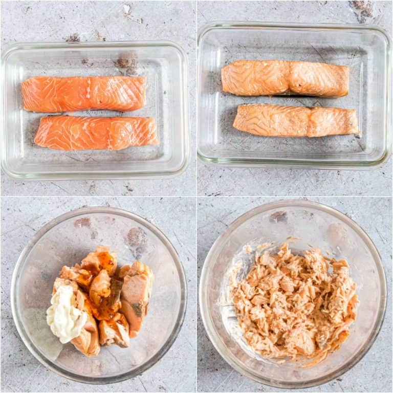 image collage showing the steps for making salmon blinis