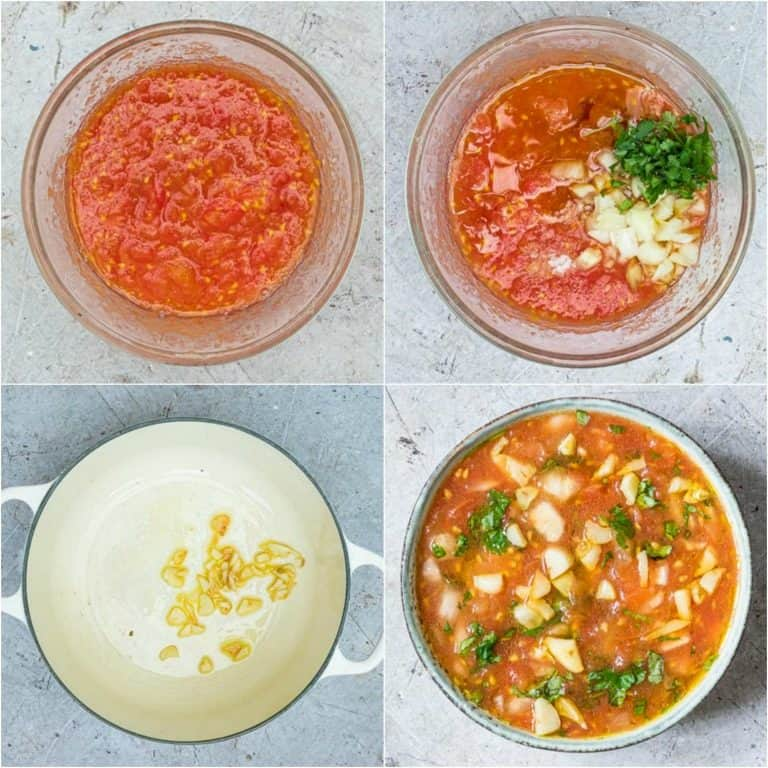image collage showing the steps for making tomato choka