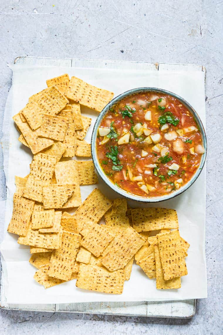 tomato choka served with tortilla chips