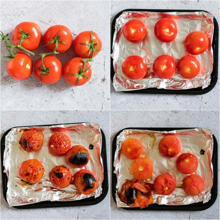 image collage showing the steps for blistering tomatoes to make tomato choka