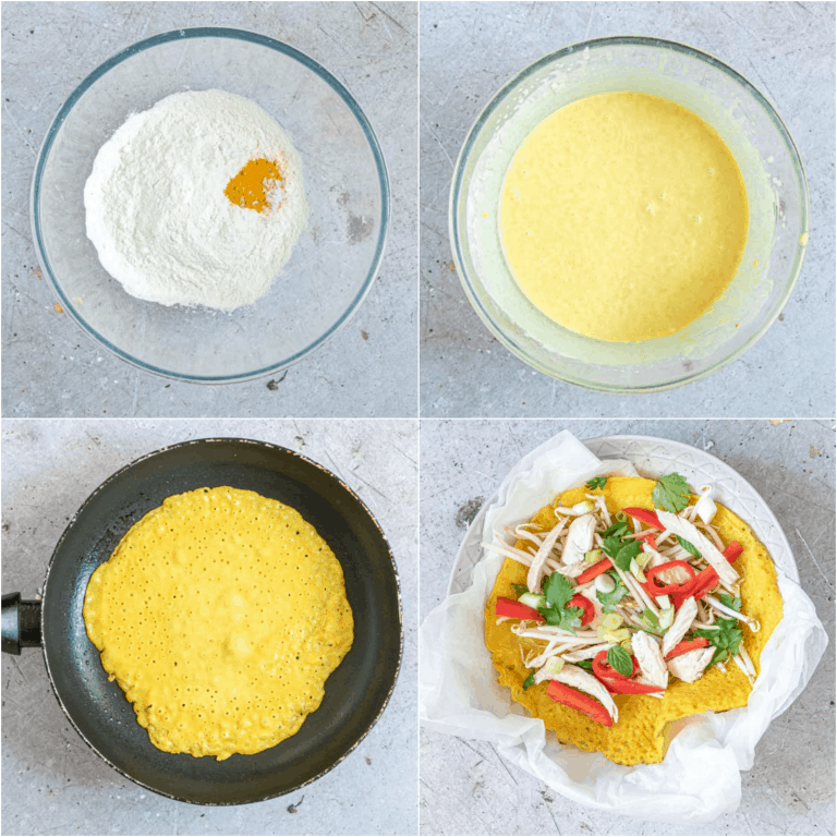 image collage showing the steps for making vietnamese pancakes