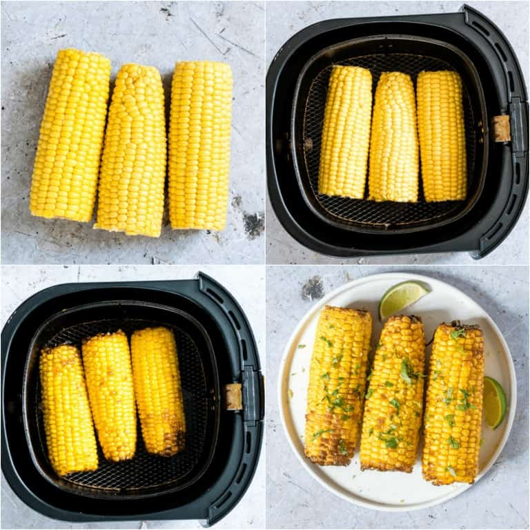 image collage showing the steps for making Air Fryer Corn on the Cob