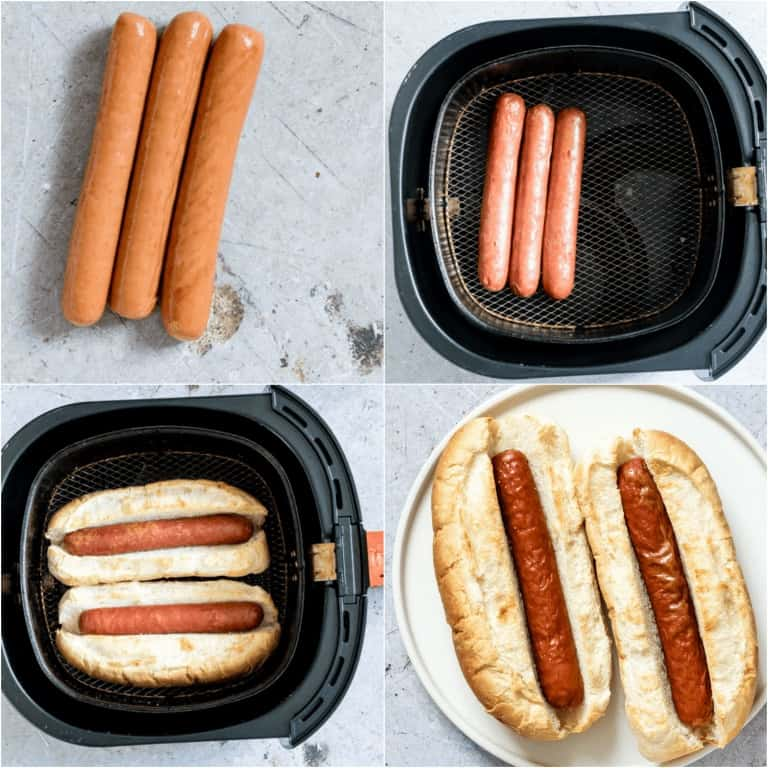 image collage showing the steps for making Air Fryer Hot Dogs