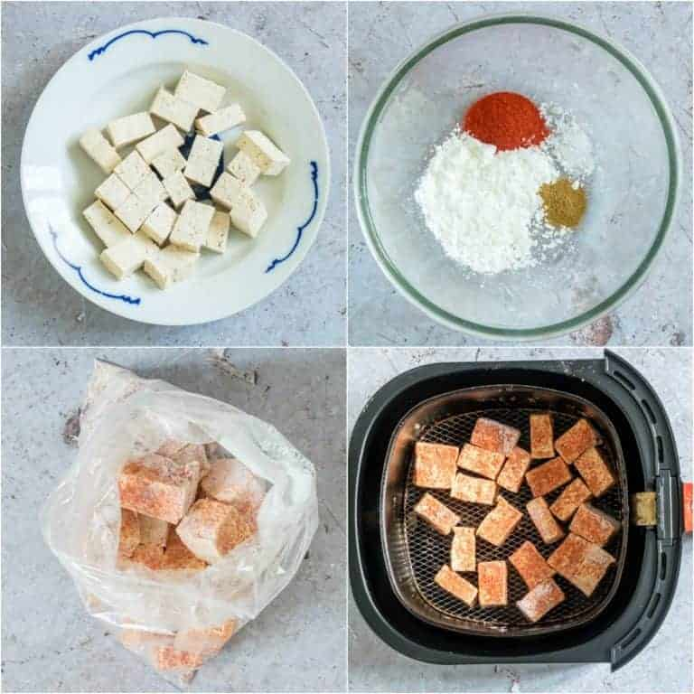 image collage showing the steps for making Crispy Air Fryer Tofu
