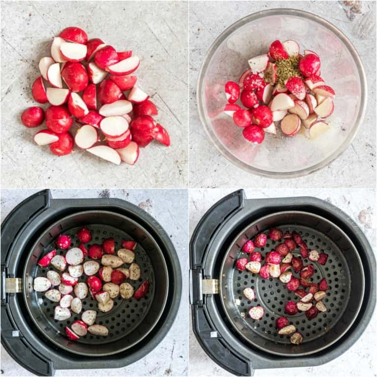 image collage showing the steps for making air fryer fried radishes