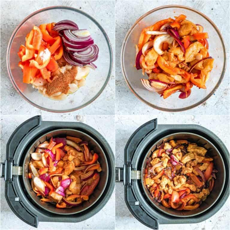 image collage showing the steps for making air fryer chicken fajitas