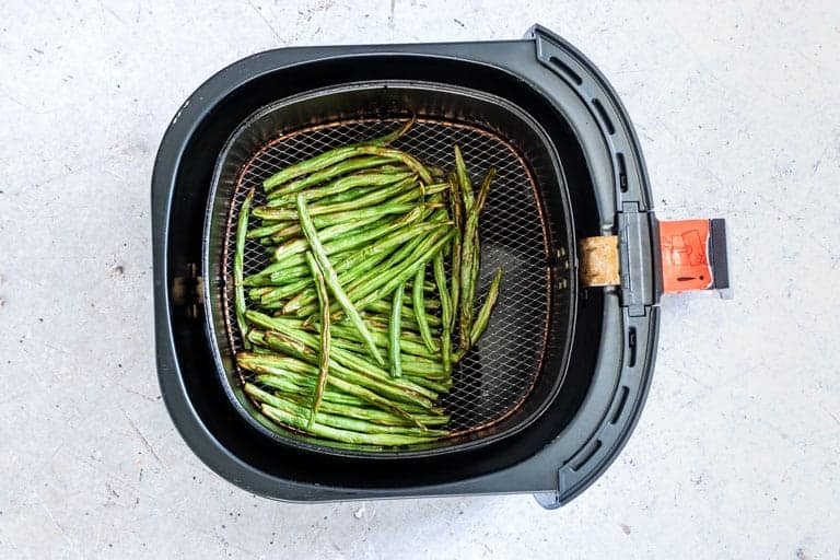 Air Fryer Green Beans inside the air fryer basket