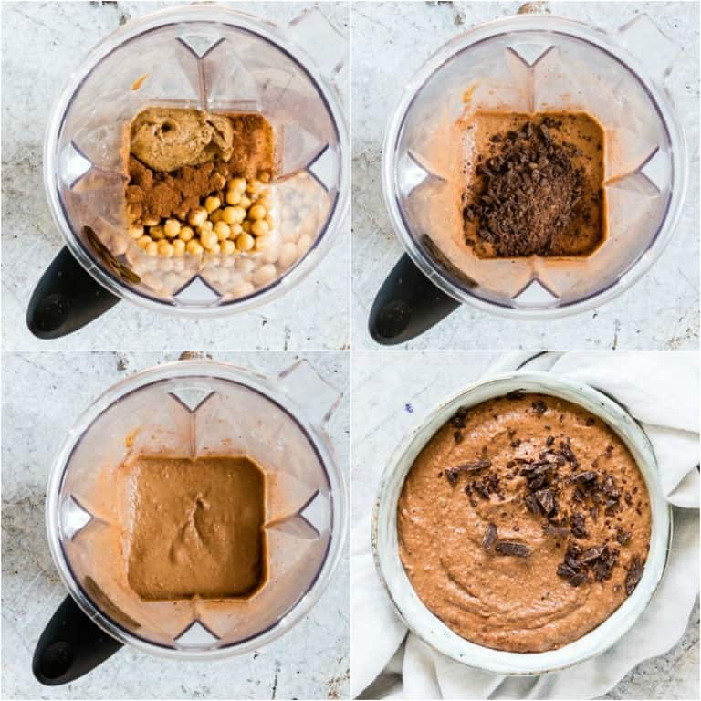 image collage showing the steps for making chocolate hummus