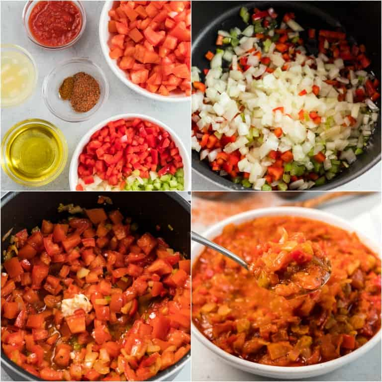 image collage showing the steps for making creole sauce