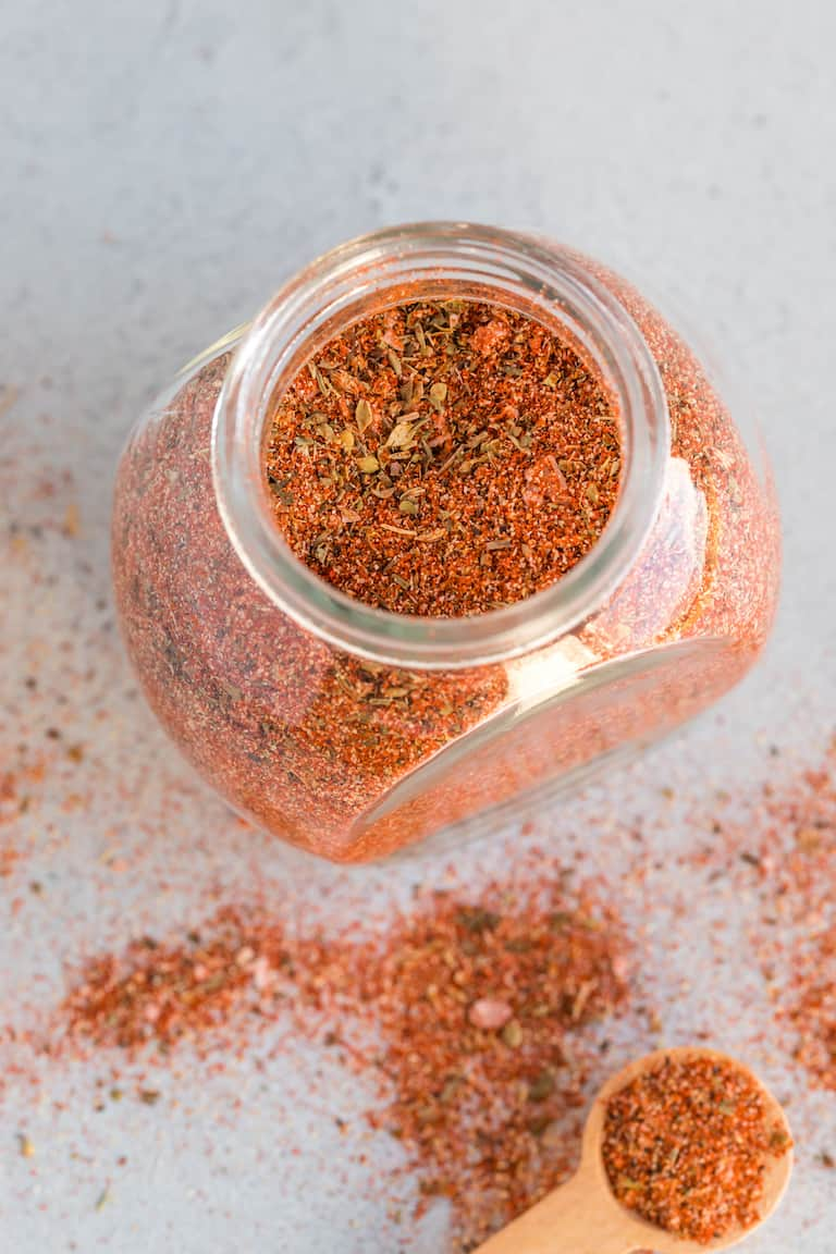 storage jar filled with creole seasoning mix
