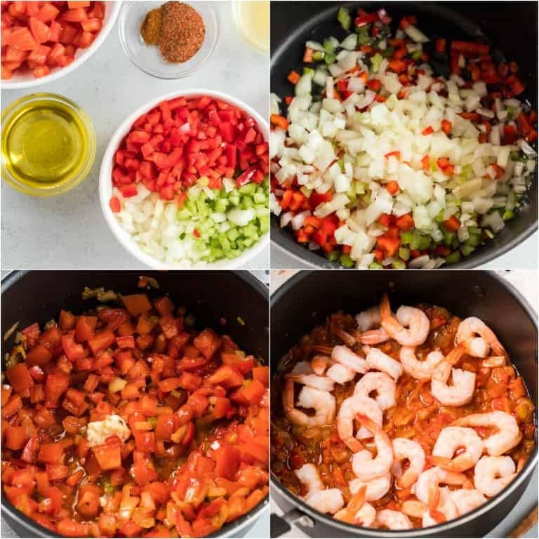 image collage showing the steps for making creole shrimp