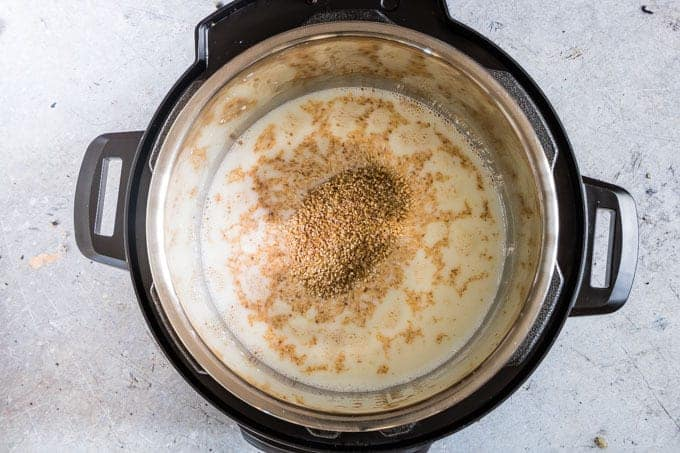 instant pot with lid off containing uncooked instant pot steel cut oats