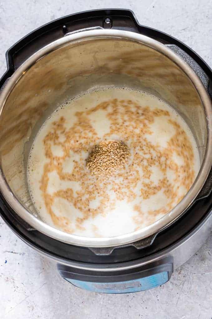 instant pot steel cut oats inside instant pot with lid off