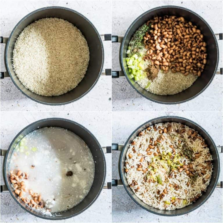 image collage showing the steps for making jamaican rice and peas