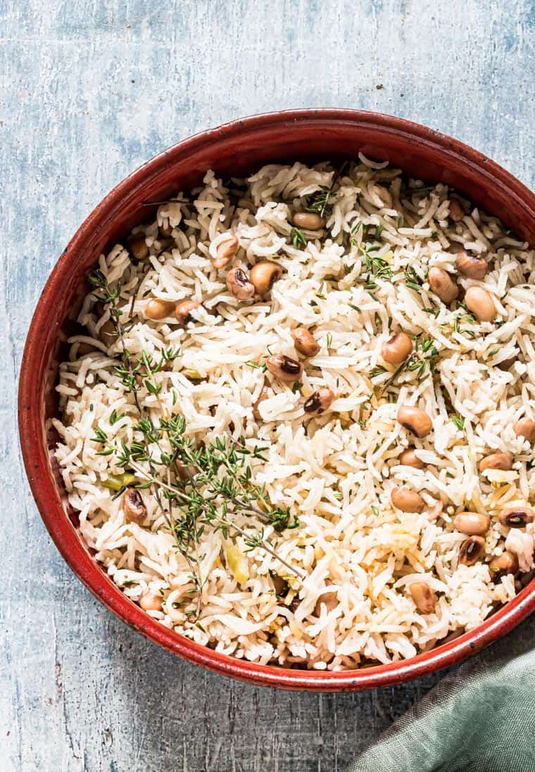 jamaican rice and peas recipe completed and ready to serve