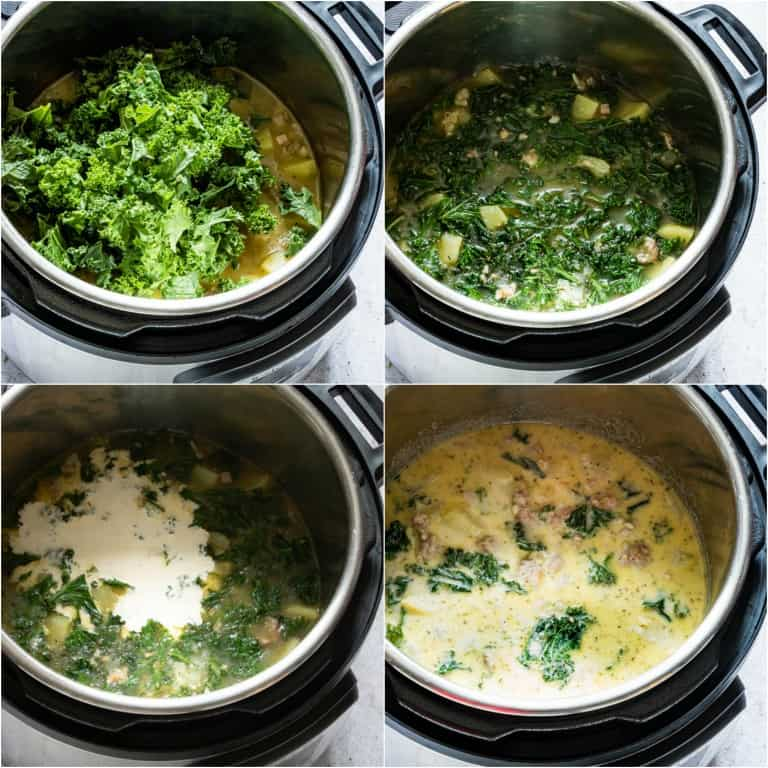 image collage showing the final steps for making Instant Pot Zuppa Toscana