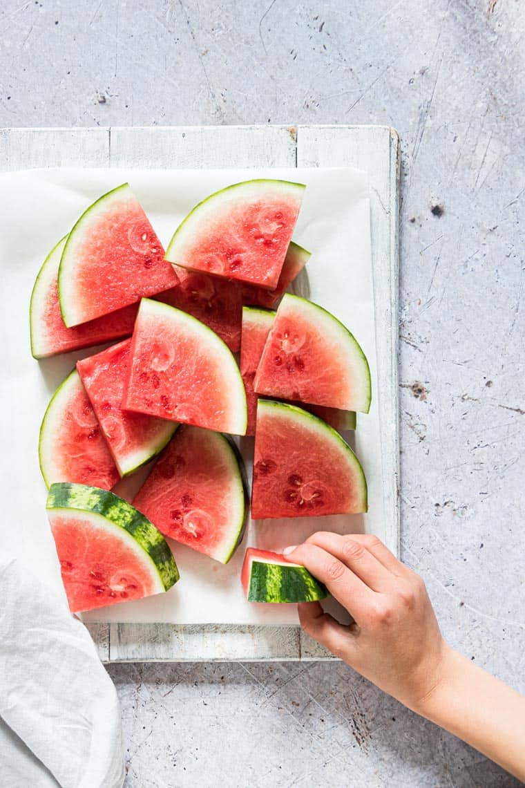 watermelon wedges on a table