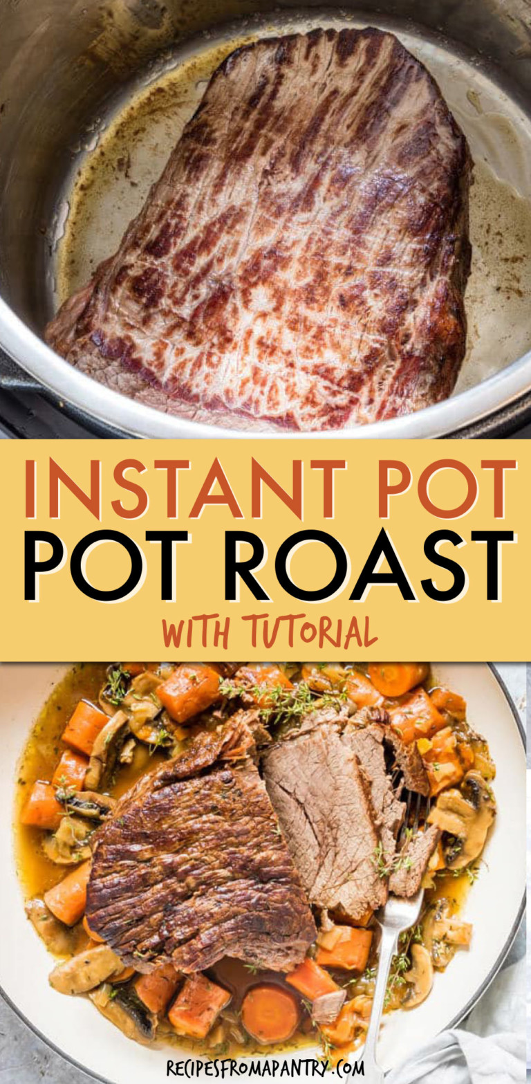 collage of two pictures of pot roast, in the instant pot and on a plate