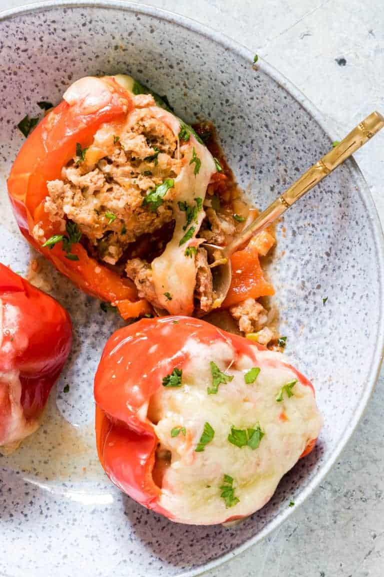 instant pot stuffed peppers on a plate