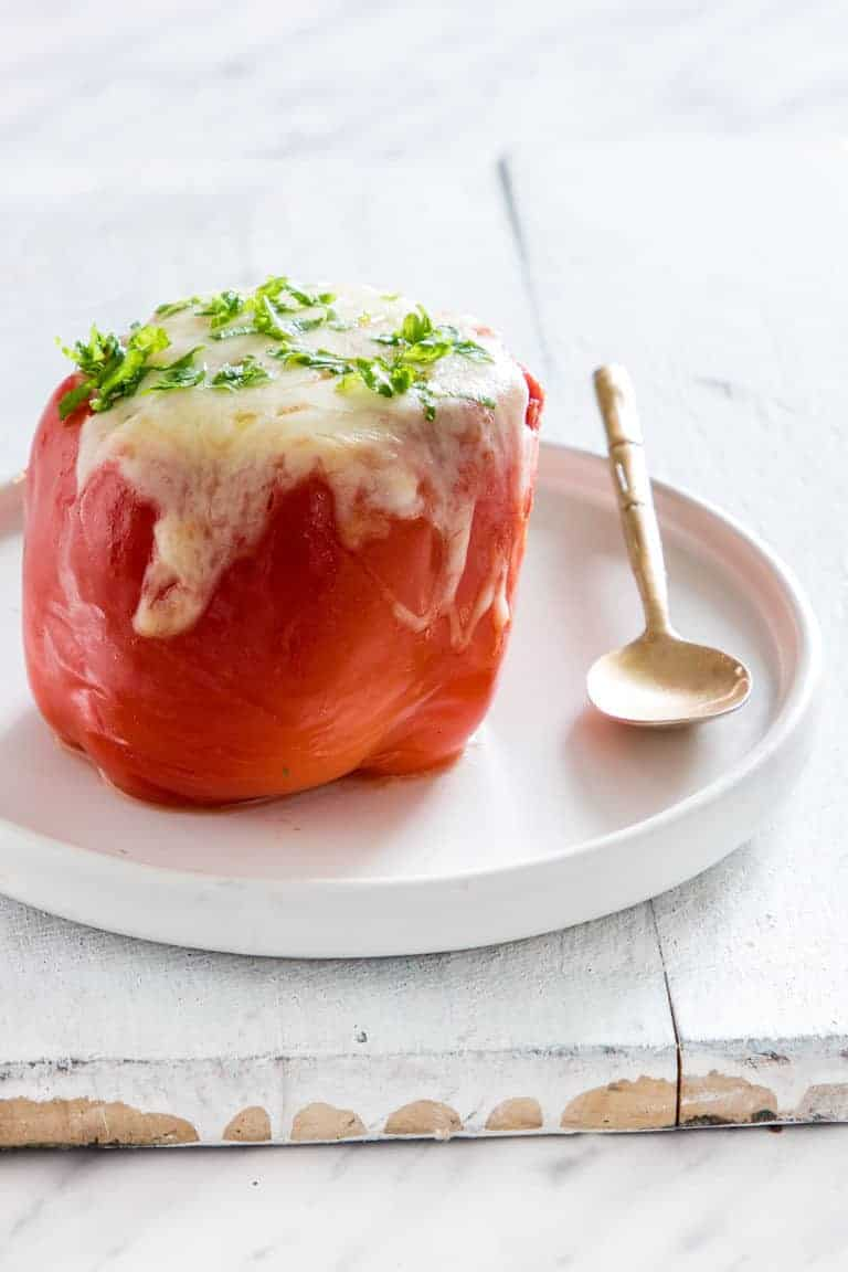 a cooked pepper form and Easy stuffed bell peppers recipe