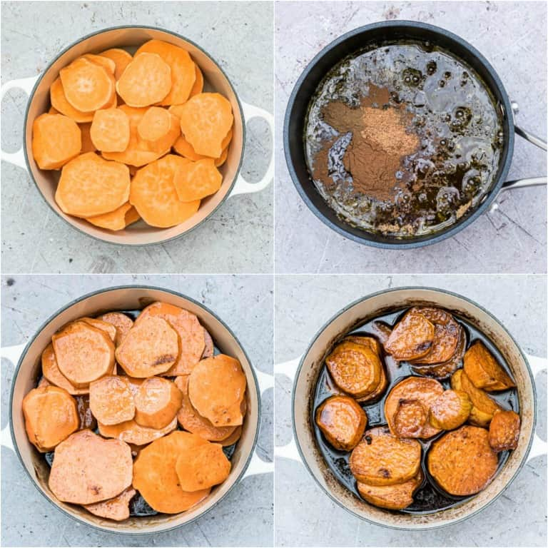image collage showing the steps for making candied sweet potatoes