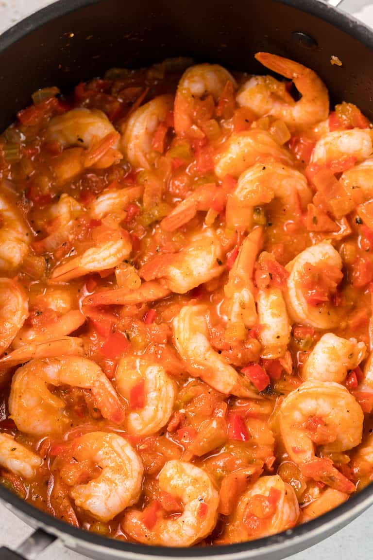 shrimp creole in a pan and ready to be served