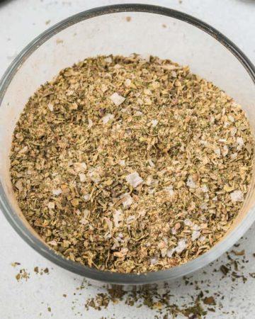 close up view of greek seasoning