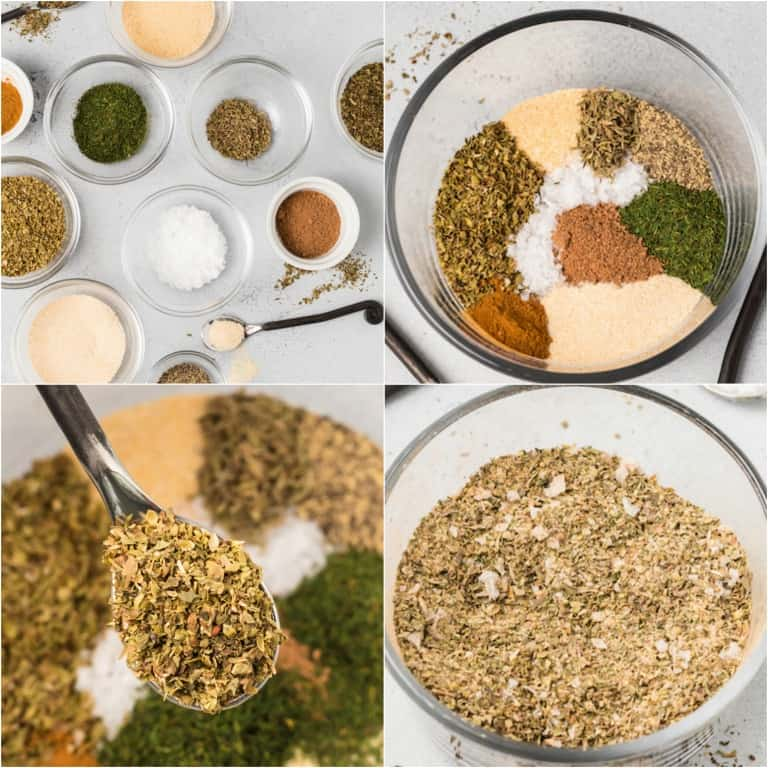 image collage showing the steps for making greek seasoning